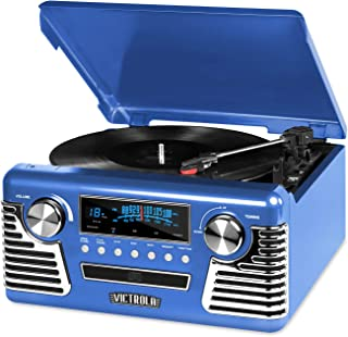 Victrola 50's Retro 3-Speed Bluetooth Turntable with Stereo, CD Player and Speakers, Blue