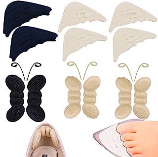 12 件鞋跟垫插入脚趾填充垫,适合女士鞋到大码,鞋跟握把衬垫衬垫防滑垫*泡沫保护垫适用于尖头鞋男士(黑色和卡其色)