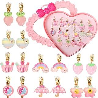 PinkSheep 夹式耳环,适合小女孩,12 双,*佳礼物(彩虹)
