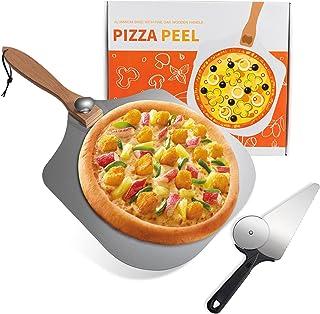 披萨剥离 30.48 厘米 x 35.56 厘米,FIWWAT 铝金属披萨桨和披萨刀,带可折叠木手柄,易于存放披萨铲桨,适用于披萨石材