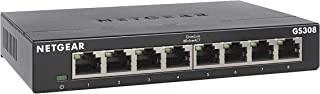 NETGEAR 网件 8 端口千兆以太网非托管交换机 (GS308) – 家庭网络集线器,办公室以太网分配器,即插即用,无风扇金属外壳,桌面或墙壁安装