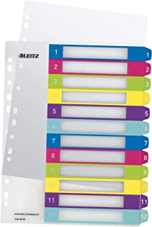 Leitz A4标签, bescherming Rift 现金封面, 超宽, PP, WOW, 多色 Zahlen 1-12 farbig