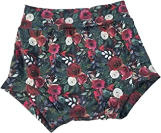 Burgandy 花卉婴儿,尿布套,短裤 2t