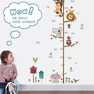 儿童身高成长图墙贴,AUHOKY 卡通动物狮子猴猫头鹰大象高度测量贴花装饰,育儿室卧室客厅墙壁装饰