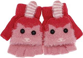 男童女童可爱狐狸可调整手套带手套手套针织冬季无指翻盖手套,适合男孩女孩幼童
