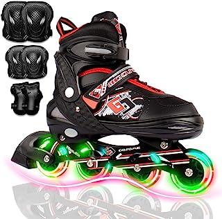 VyperX 可调节内嵌滑冰鞋 带照明轮 | *版溜冰鞋 | 非常适合休闲和初学者溜冰者 | 包括防护装备 |