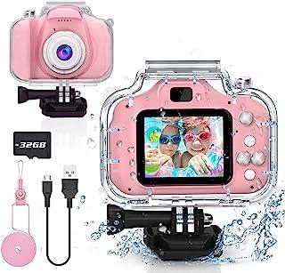 6 7 8 9 10 岁女孩Yoophane 儿童防水相机圣诞节生日礼物幼儿动作相机玩具适合 3-12 岁女孩水下视频录像机,带 32GB SD 卡(粉色)