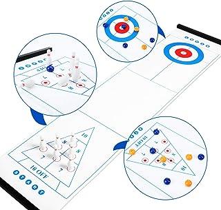 桌面洗牌板卷发保龄球3合1家庭游戏室内派对娱乐时间桌面游戏礼品,适合儿童和成人,便携小巧