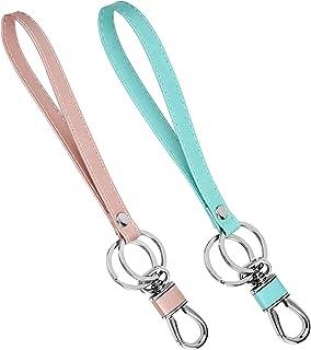 VMVN 手腕钥匙链挂绳,适合长度带扁平钥匙环和不锈钢夹,用于钥匙/钱包/身份证夹等,2 件装(粉色+*)
