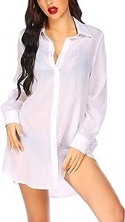 Ekouaer 系扣睡衣 女式透明长袖 男友睡衣 S-XXL 码