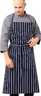 Chef Works A100-BCS 英国厨师围裙,黑色粉笔条纹 Navy Chalk Stripe