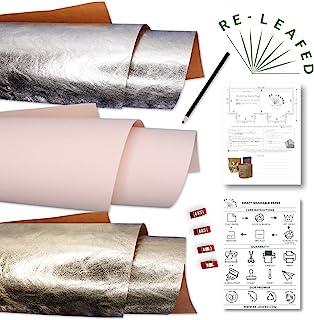 可洗牛皮纸人造皮革人造替代品 共 3 张,每张尺寸为 45.72 厘米 x 74.93 厘米 1 个腮红 1 个金属银 1 个裁缝铅笔、4 个夹子 + 图案再生优雅系列