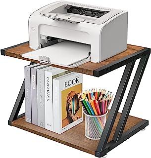 带存储架的桌面打印机支架,质朴 2 层打印机桌,重型家用打印机支架,适用于家庭和办公室,多功能台下支架收纳盒,带可调节防滑脚