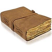 VIMOKSHA 高级手工复古真皮日记甲板边缘纸 - 复古手工皮革装订日常记事本,艺术素描本的*佳礼物(18.5 x 1…