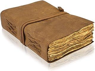 VIMOKSHA 高级手工复古真皮日记甲板边缘纸 - 复古手工皮革装订日常记事本,艺术素描本的*佳礼物(18.5 x 14.3 厘米)