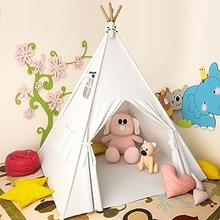 Teepee Tent 儿童小帐篷 Lesicpic 儿童游戏帐篷 带垫子 & 鸡蛋 灯串 & 兔子娃娃 儿童帐篷室内室外原始白色圆锥形 - 儿童游戏屋 - 儿童帐篷 帆布帐篷