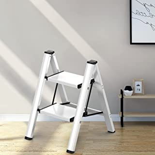 2 Steps 梯子防滑可折叠银色铝质轻质宽踏板适用于家庭和厨房节省空间