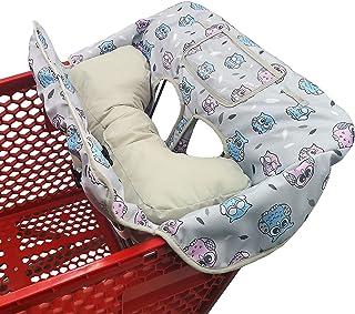 柔软枕头附 2 合 1 购物车和高脚椅套 适合宝宝 ~ 衬垫 ~ 折叠式风格 ~ 便携式免费手提袋(灰色猫头鹰)