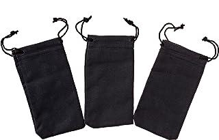 防锈首饰收纳袋(12.7 厘米 x 7.6 厘米)3 件装 - 黑色抽绳袋 - 纯银超细纤维抛光布