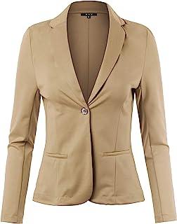 女式修身罗马布舒适单扣长袖外套