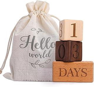 Promise Babe 3 件套木制里程碑积木纪念品里程碑积木婴儿年龄照片道具新生儿成长标记块早期教育玩具