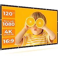VANKYO StayTrue 投影屏幕,120英寸投影屏幕4K HD,16:9,可折叠无皱电影屏幕(1.1GAIN,1…