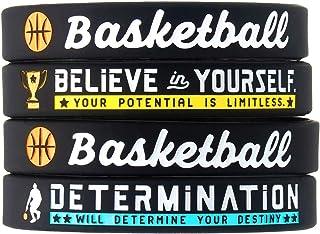 (4 件装)篮球硅胶手链 励志运动引言 - 4 件套鼓舞人心的硅胶手腕带 - 中性篮球礼物首饰配饰适合男孩女孩男士女士