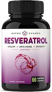 NutraChamps 白藜芦醇营养*品 1400毫克 - 60粒植物胶囊,含有反式白藜芦醇、绿茶叶、巴西莓和葡萄籽萃取物。