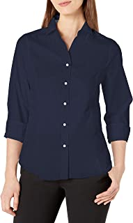 Nautica 女士休闲舒适七分袖系扣纯色衬衫