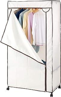 DOSHISHA 手帕 带聚酯罩 衣橱 带脚轮 象牙色 象牙色 幅90×奥行50×高さ170cm HRC-9050