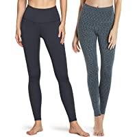 ATHLIO 2 件装女式保暖瑜伽裤,高腰保暖羊毛内衬打底裤,冬季锻炼跑步紧身裤