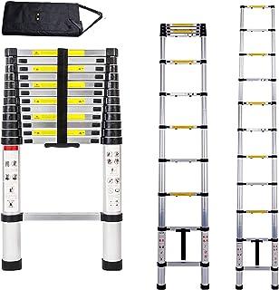 12.5 英尺伸缩梯子 铝制伸缩伸缩梯子 多功能简单墙面梯子 带额外工具包 适用于家庭、卡车、屋顶工作