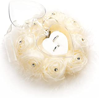 PARANTA 白色结婚戒指枕,带鸵鸟毛孔,婚礼戒指轴承带蝴蝶结,婚礼戒指托