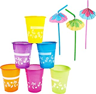 Luau 派对杯带遮阳伞饮用吸管(25 只装)一次性塑料夏威夷 Luau 派对用品饮杯 鸡尾酒海滩主题生日 4E 新颖