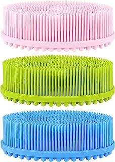 3 个硅胶清洁刷,长胡须和背面按摩柱,用于去角质,按摩身体,促进*,训练宝宝的触感,3 种颜色