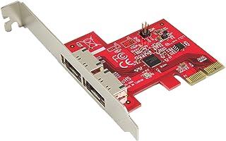 Ableconn PEX-SA130 2 端口 eSATA III 6Gbps PCI Express 双通道主机适配器卡 - AHCI Port-Multiplier PCIe 2.0 x2 控制器卡 - ASMedia ASM1062 芯片组