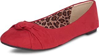 女式打结前帆布圆头芭蕾平底鞋 - 舒适可爱正装平底鞋