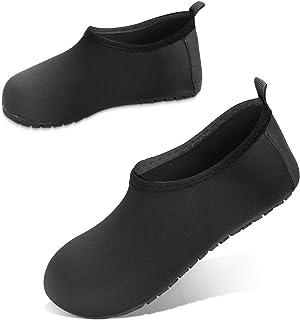 JOTO 水鞋沙滩袜儿童幼儿女婴男孩,赤脚速干防滑游泳袜水鞋适用于海滩游泳池水上公园 黑色 8-8.5 M Toddler