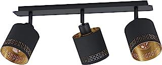 EGLO Esteperra 天花板灯 3 盏 复古灯 天花灯 钢和织物吸顶灯 客厅灯 黑色 金色 厨房灯 带 E27 灯座