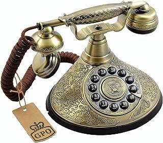 GPO Duchess 怀旧复古按钮电话带布线 - 青铜金属表面