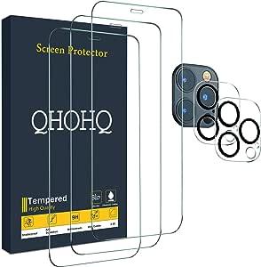 QHOHQ 3 件装屏幕保护膜,适用于 iPhone 12 Pro Max [6.75 英寸],带 2 件装钢化玻璃屏幕保护膜,钢化玻璃膜,9H 硬度 - 高清 - 2.5D 边缘 - 无气泡 - 耐刮擦