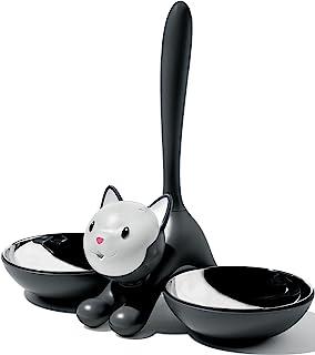 A DI ALESSI tigrito 猫碗18/ 10不锈钢和热塑性树脂黑色