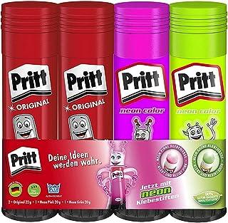 Pritt 胶棒混合包装 *且儿童友好的胶水 适用于艺术和手工艺品 适用于学校和办公室需求 2 × 20 克(*和粉红色),2 × 22 克 原装