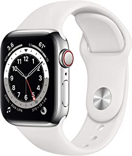 新款 Apple Watch 系列 6(GPS + 蜂窝,40mm) - 银色不锈钢表壳白色运动表带