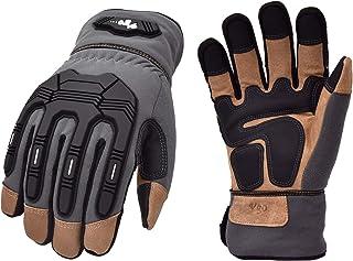 Vgo 1 对 -0.0 °C 或以上 3M 新雪丽绝缘 C40 内衬冬季触摸屏 TPR 防震高级猪皮重型工作手套(尺码 XL,灰色,PA7675FW)