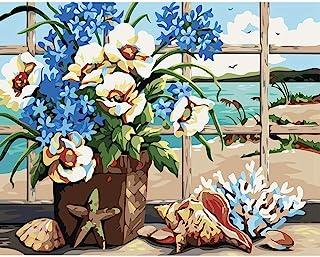 DIY 成人数字绘画套装,风景和花卉帆布DIY油画套件,适合初学者成人儿童,数字油画墙壁艺术家居装饰,40.64 x 50.80 厘米