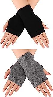 Blulu 2 双 无指保暖手套 带拇指孔 舒适半指驾驶手套 男式针织手套 女式
