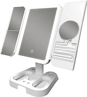 带 LED 灯的化妆镜,白色伸缩折叠镜,1X/2X/3X/10X 放大镜,有 3 种照明模式,可选的 USB 电源或 4 节 AA 电池(产品不含电池)