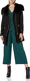 Via Spiga 女士羊毛外套,超大人造毛领和不带拉链开合