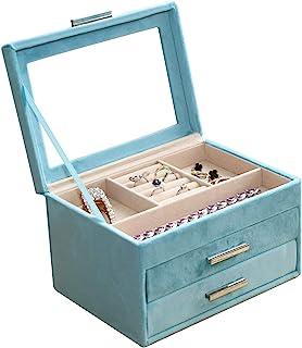 珠宝盒带 3 个抽屉天鹅绒珠宝收纳盒,带透明亚克力盖,用于存储耳环手镯项链和戒指,珠宝展示盒礼物女士女孩男士(蓝色)